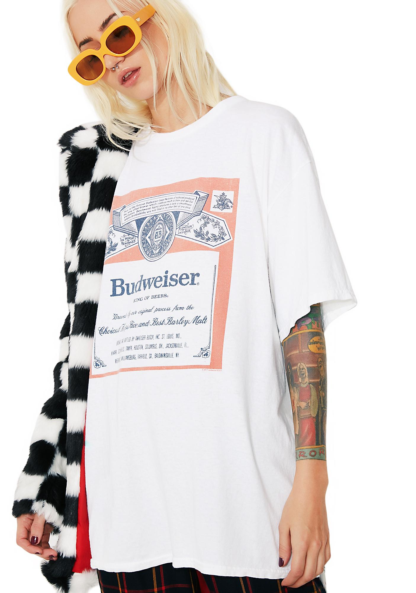 3e0d1c04 Junk Food Clothing Budweiser Label Graphic Tee | Dolls Kill