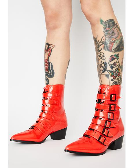 Red Patent Coven Boots