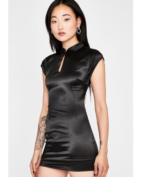 Fashionably Late Satin Dress