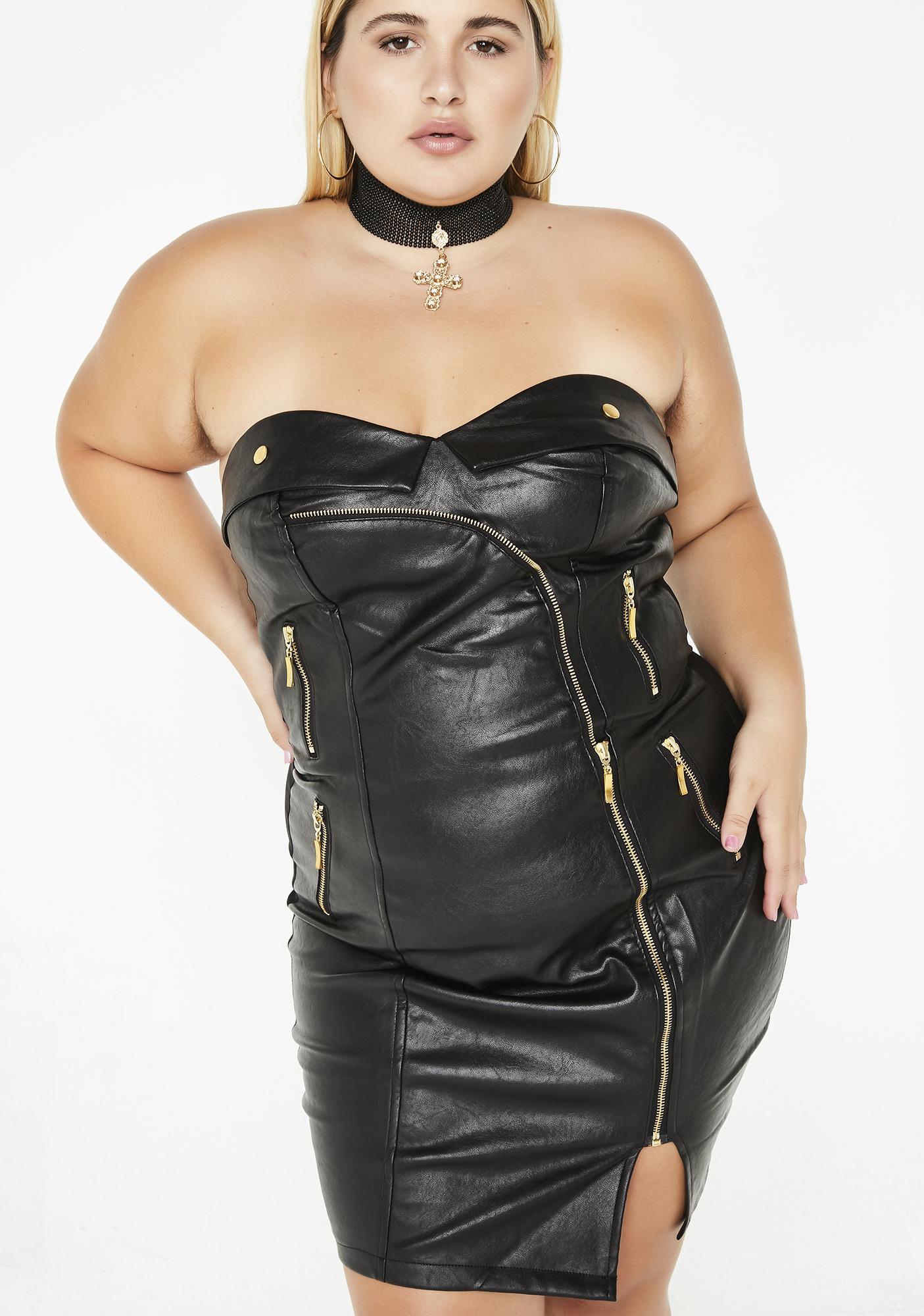 Plus Size Bodycon Moto Zip Dress | Dolls Kill