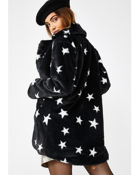 Star Print Faux Fur Jacket