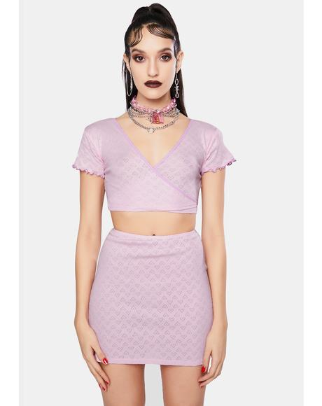 Pink Heart Cut Out Jersey Mini Skirt