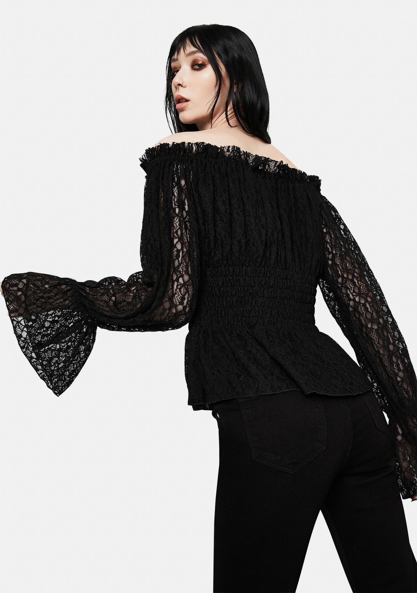 Devil Fashion Lace Flute Sleeve Off The Shoulder Top