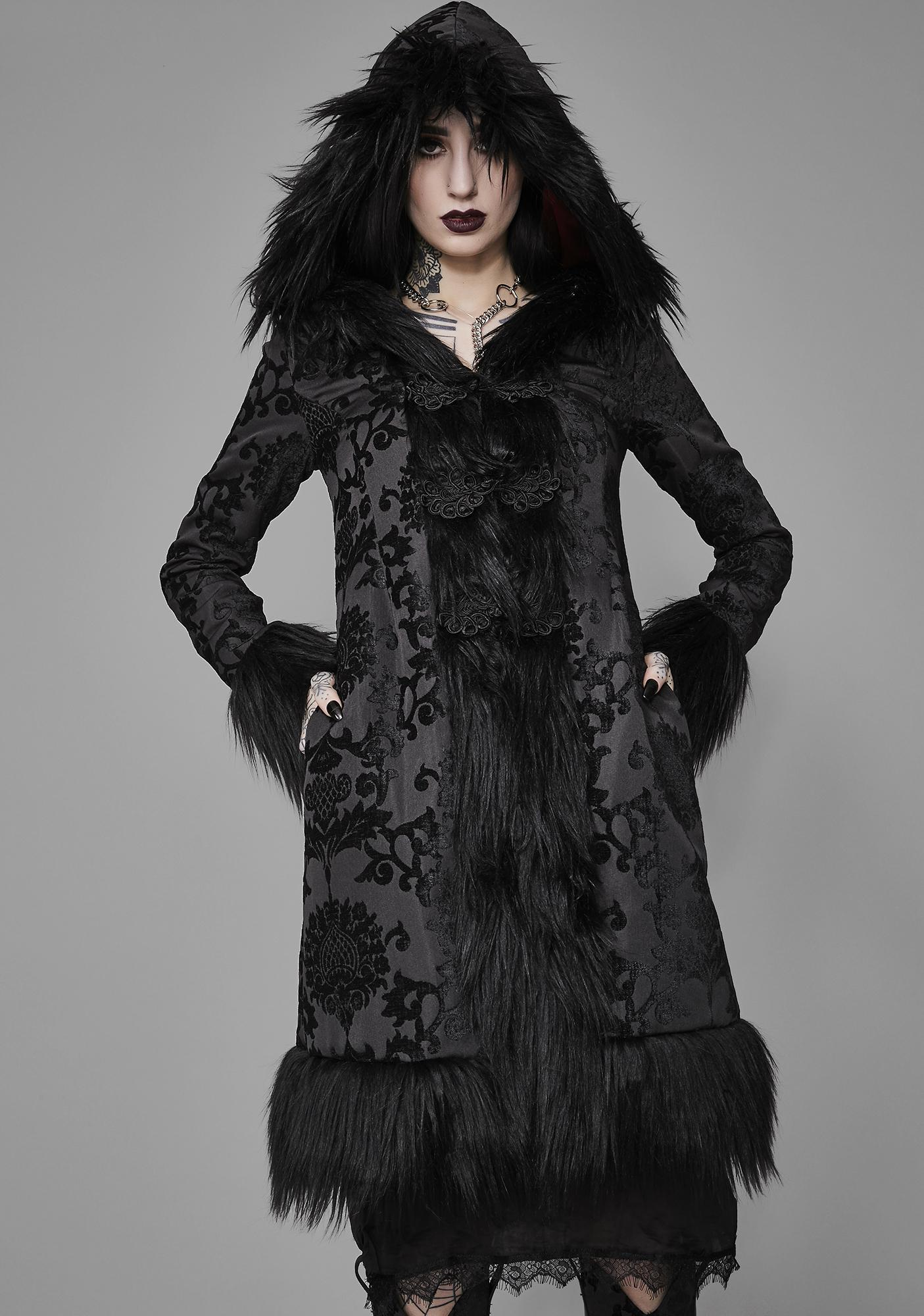 Widow Shrouded In Moonlight Brocade Coat