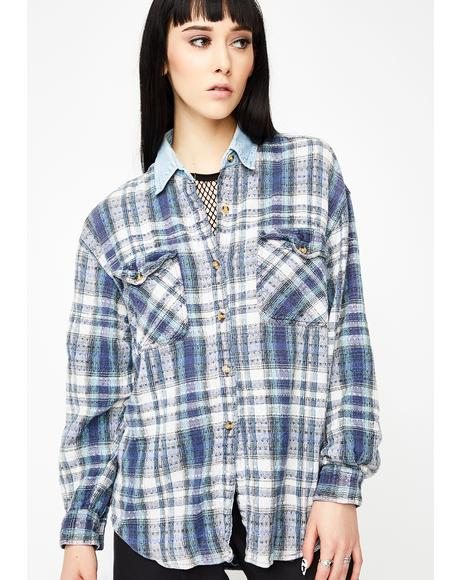 Vintage 90's Plaid Button-Up Top