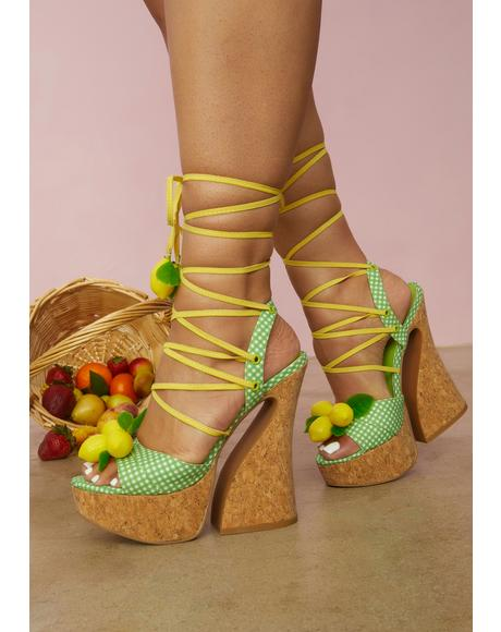 Sour Hour Gingham Lemon Platforms