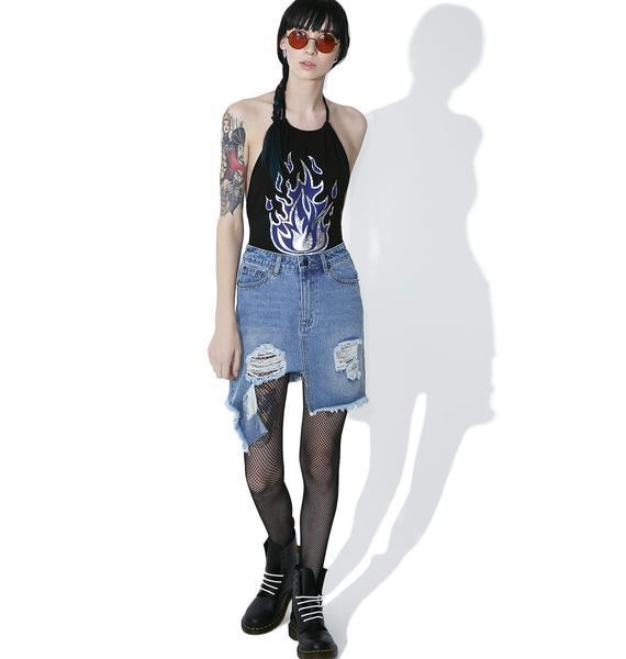 MeYouVersusLife It's Lit Blue Flame Bodysuit