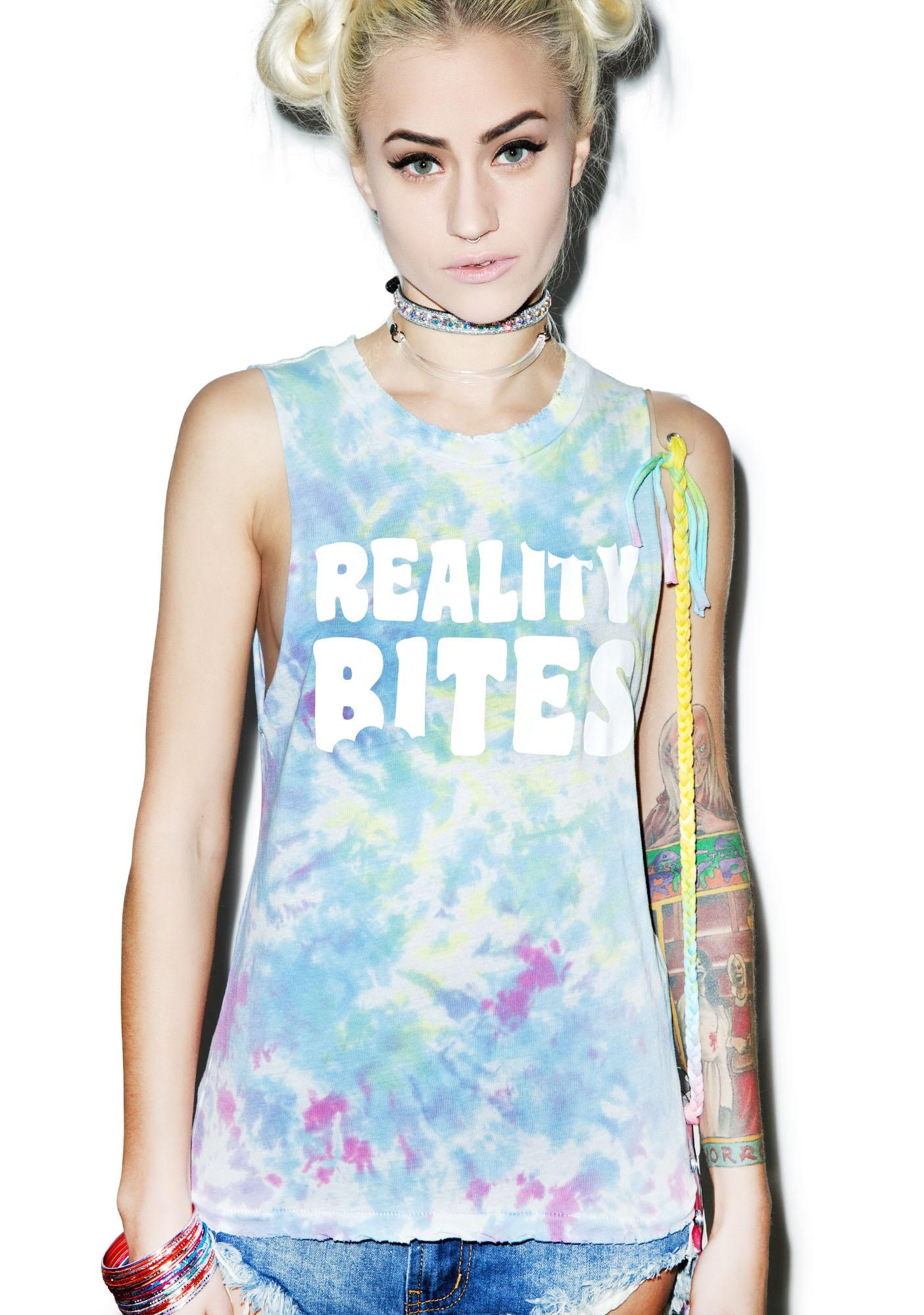 Petals and Peacocks Reality Bites Destroyed Tank Top