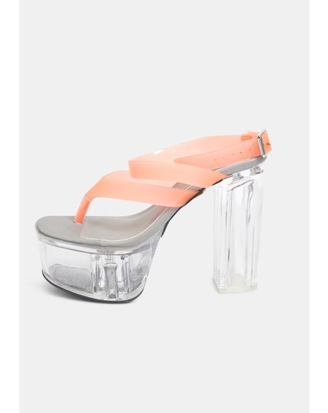 Kickdrum Clear Platform Orange Strappy Sandals