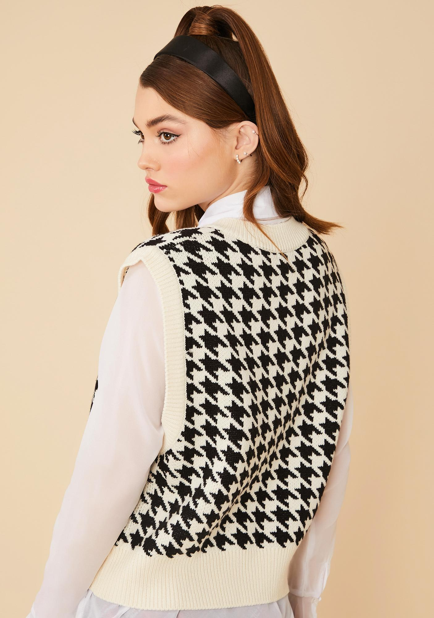 Angel Somebody Told Me Houndstooth Sweater Vest