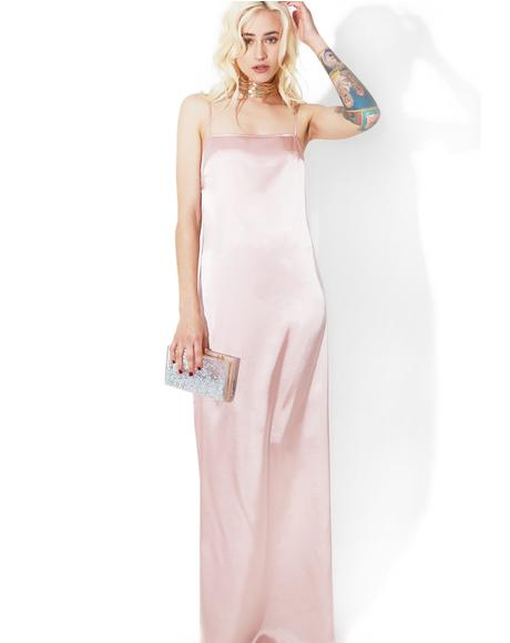 Blush Temptress Satiny Maxi Dress