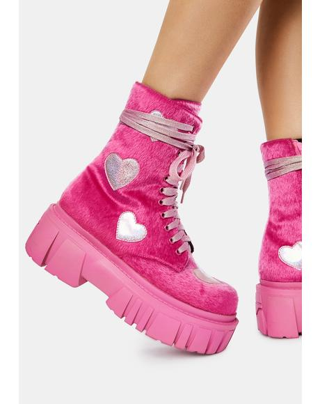 Feel My Heartbeat Fuzzy Boots