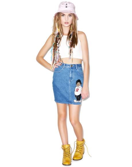 Rich Kid Denim High Waist Skirt