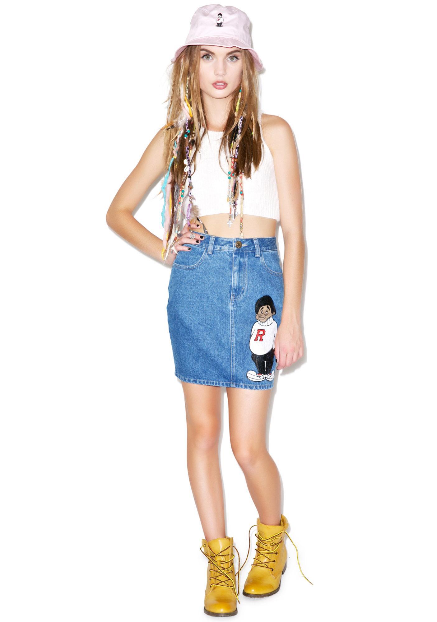 Joyrich Rich Kid Denim High Waist Skirt