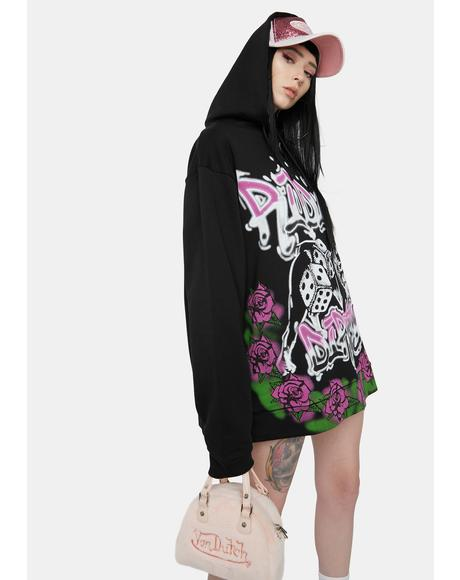 Ridin' Dirty Graffiti Print Oversized Hoodie