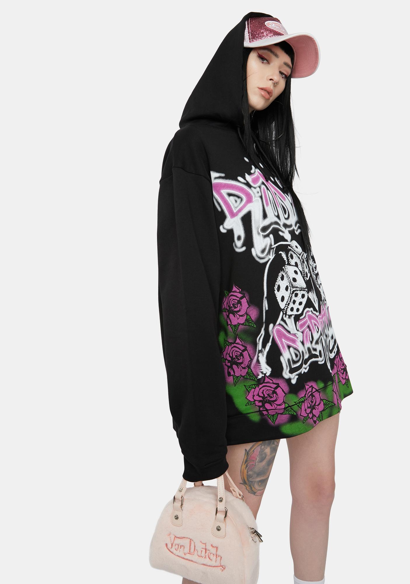Jaded London Ridin' Dirty Graffiti Print Oversized Hoodie