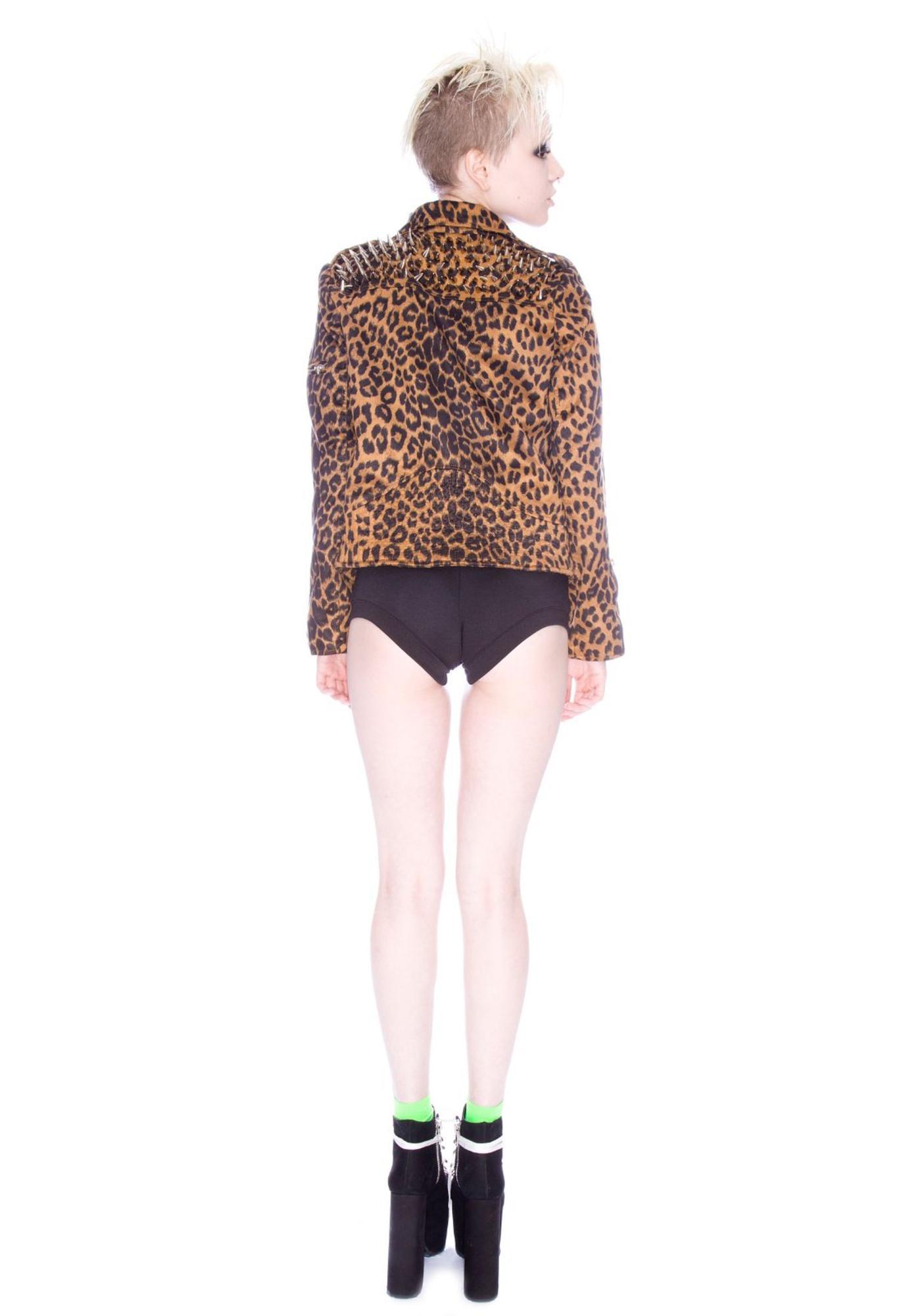 UNIF Studded Leopard Moto Jacket