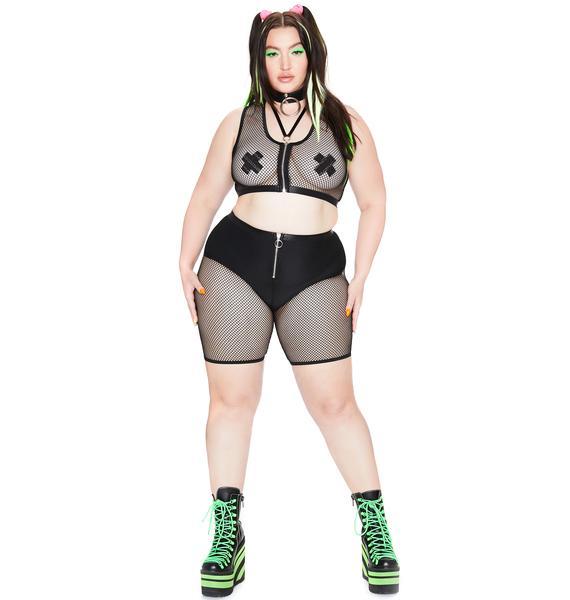 Club Exx She's Techno Sexual Fishnet Biker Shorts
