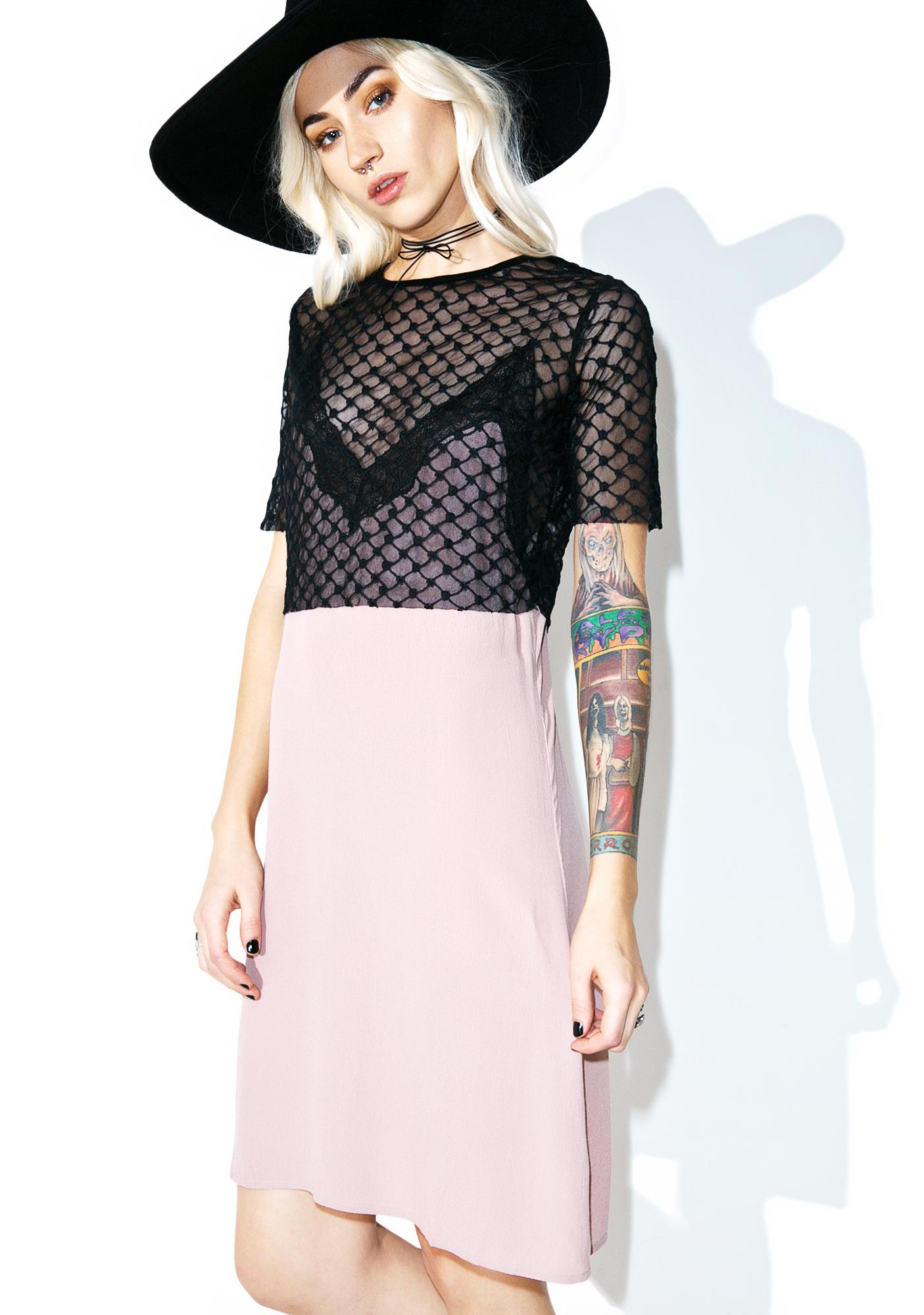 Stolen Glances Mesh Slip Dress