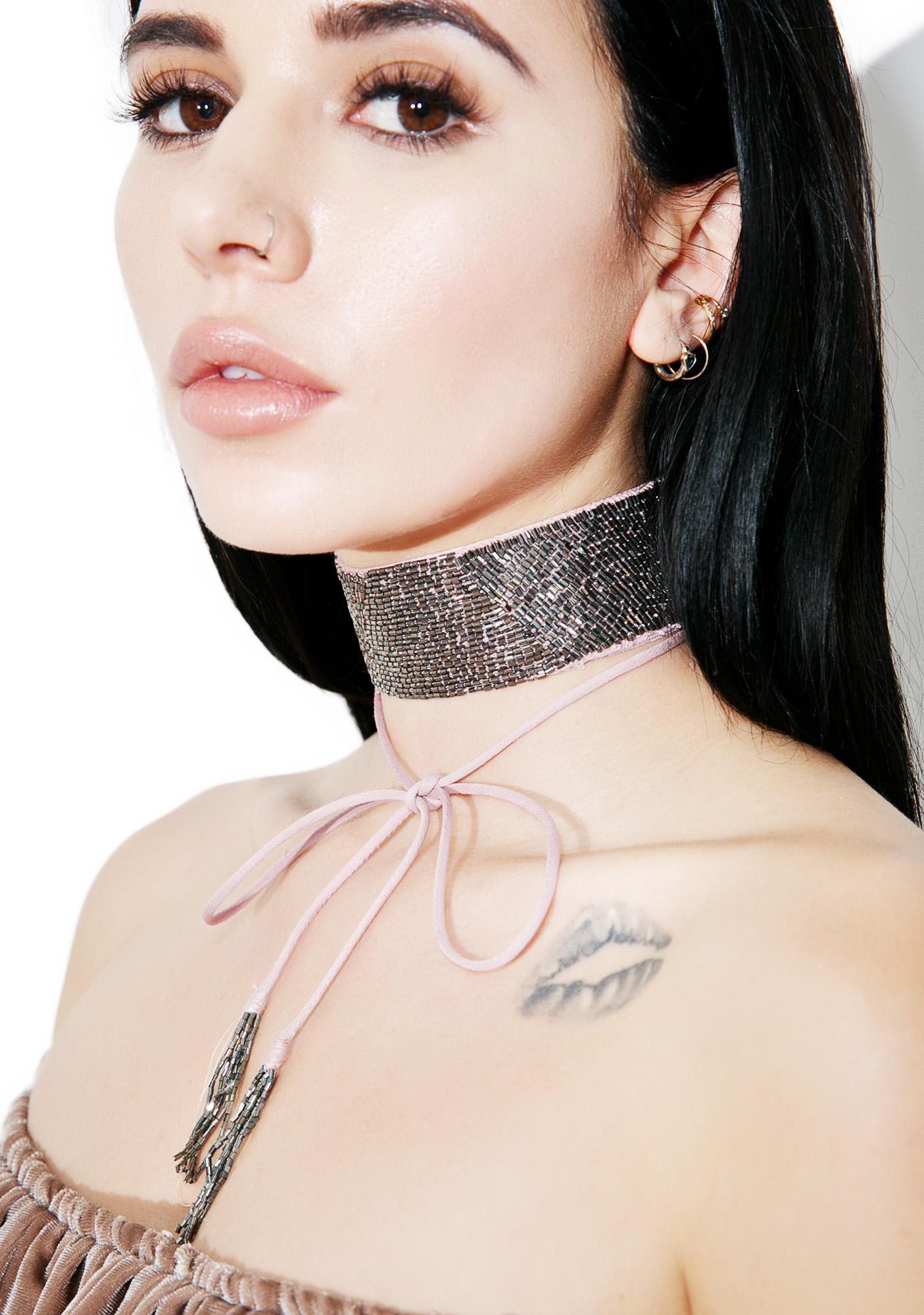 NEW FRIENDS COLONY Mauve Beaded Choker