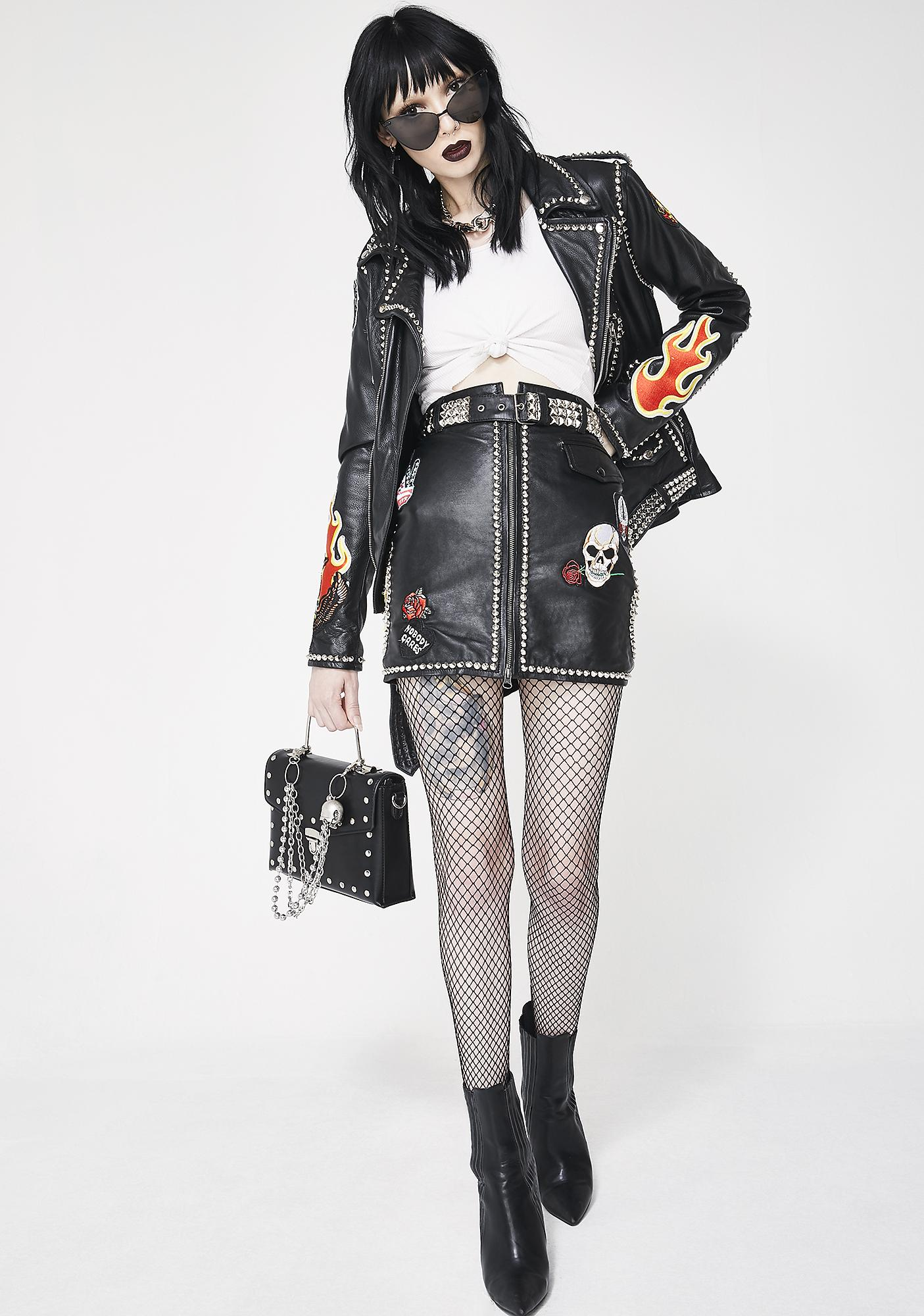 Hazmat Design Flame Job Leather Skirt