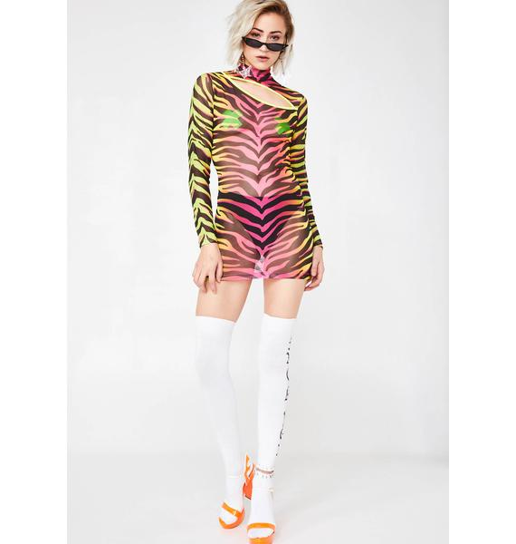 Jaded London Neon Zebra Mesh Cut Out Mini Dress