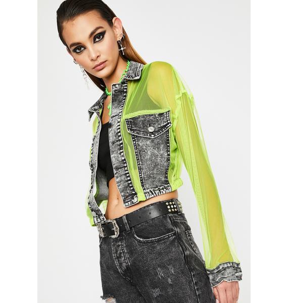 Vivid Grunge Glamour Crop Jacket