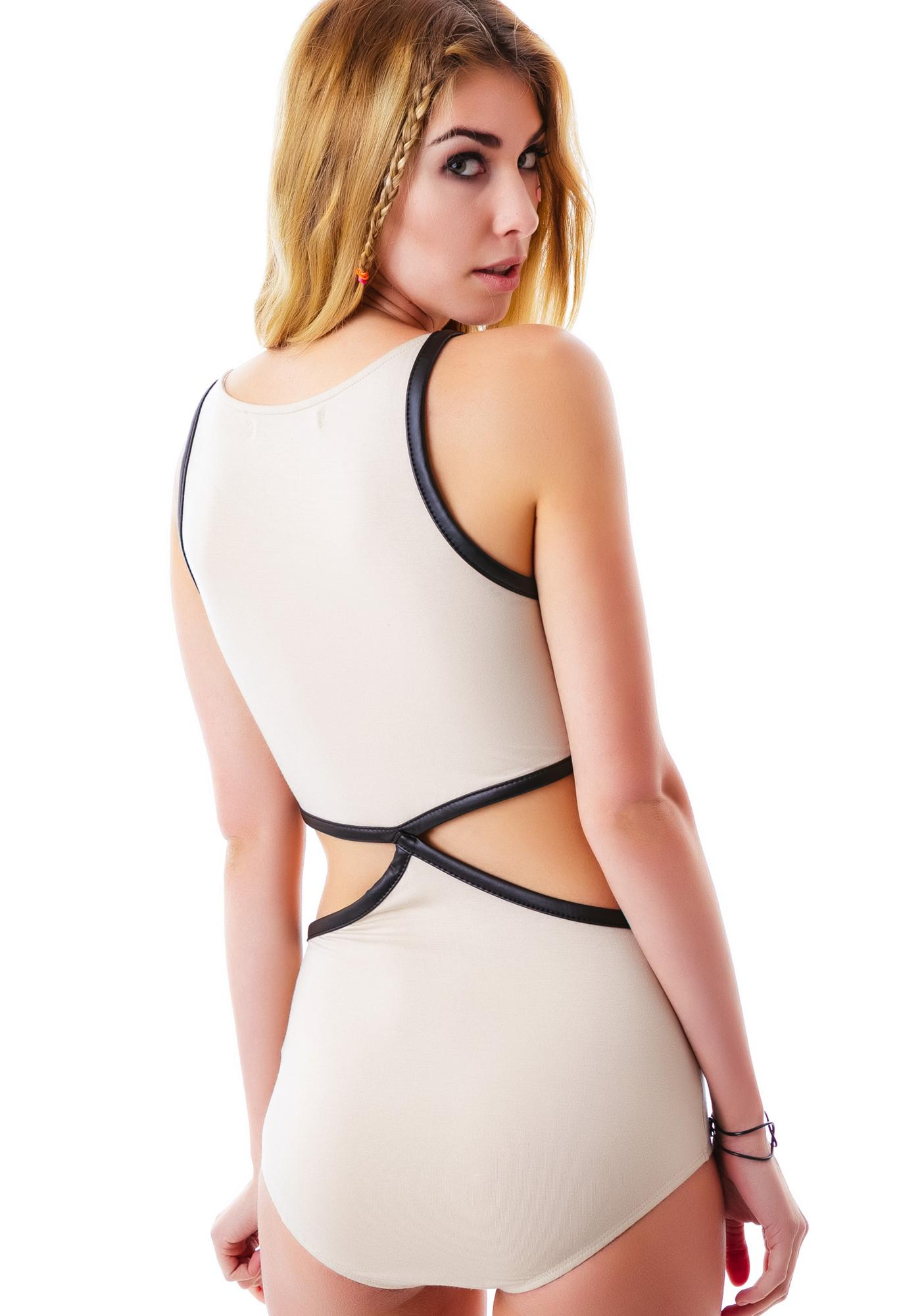 Alicia Leather Trim Cut Out Bodysuit