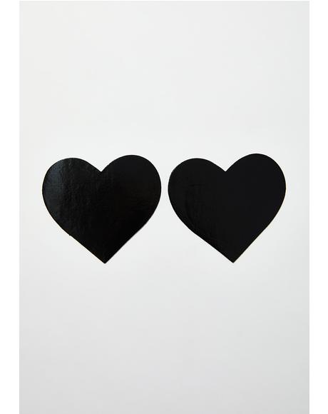 Dom Squad Black Wet Vinyl Heart Pasties