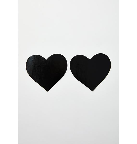 Neva Nude Dom Squad Black Wet Vinyl Heart Pasties