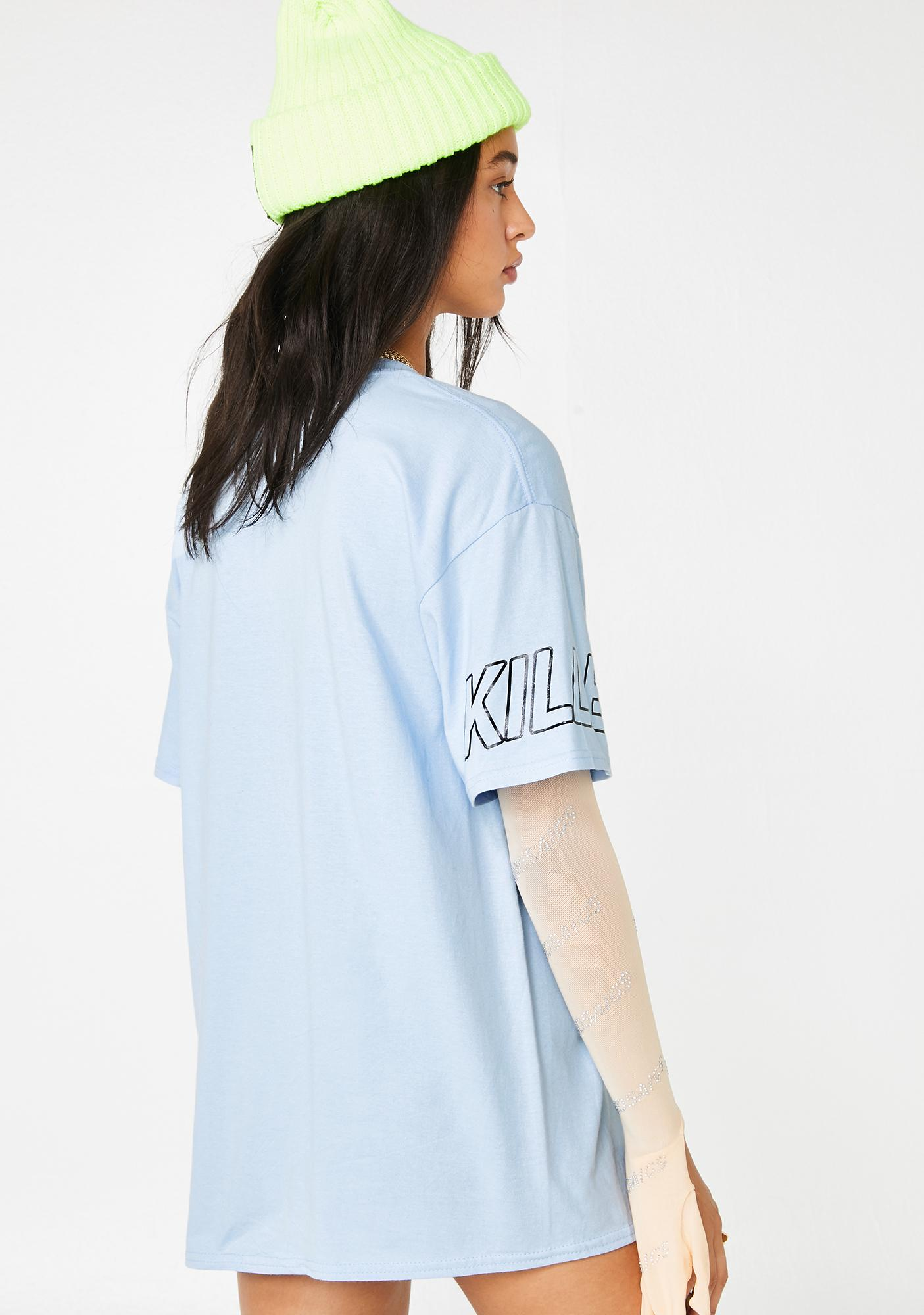 No Dress Blue Sporty Graphic T-Shirt