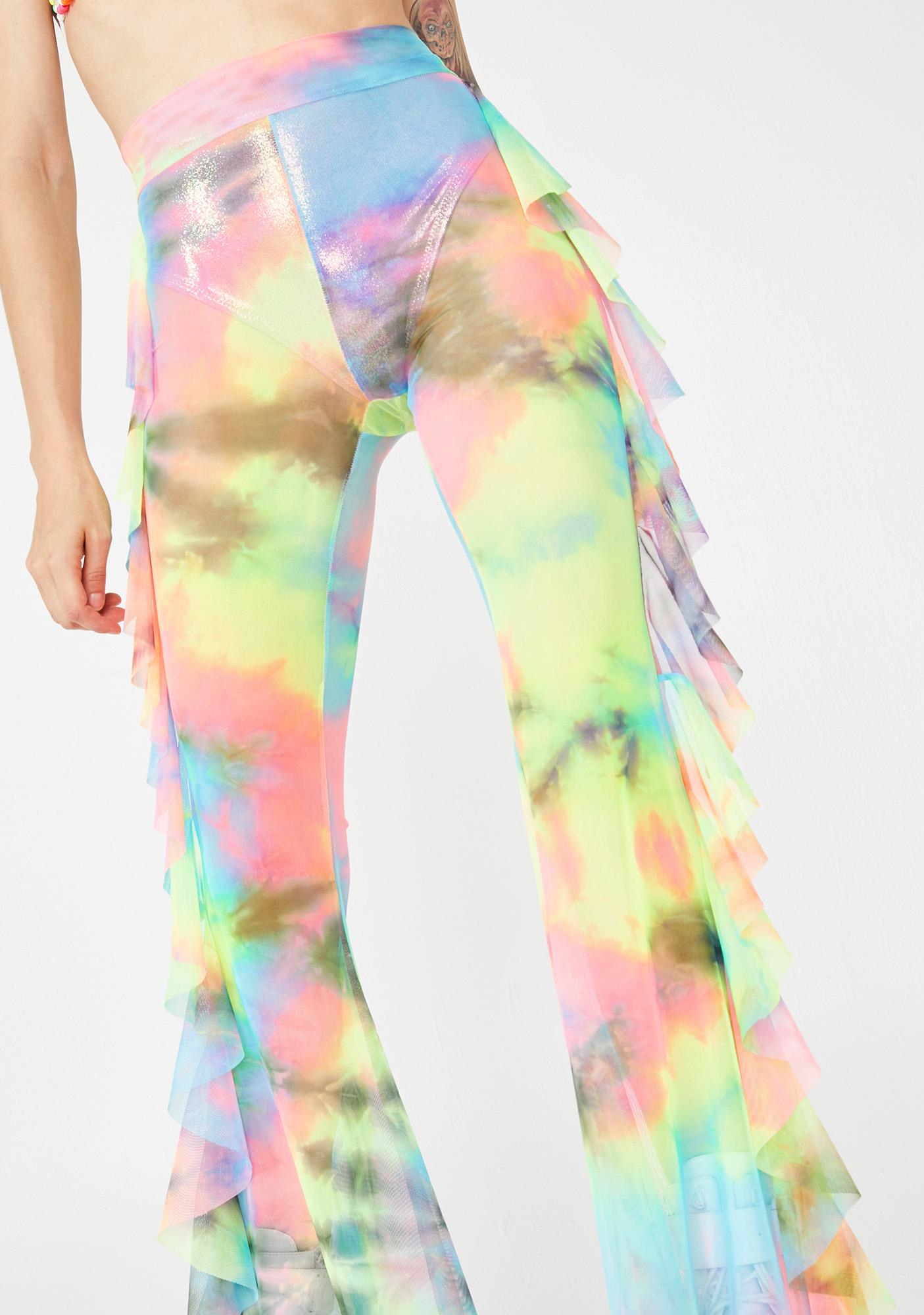 Little Black Diamond Illusion Tie Dye Mesh Pants