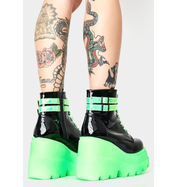 Demonia Green UV Patent Technopagan Boots