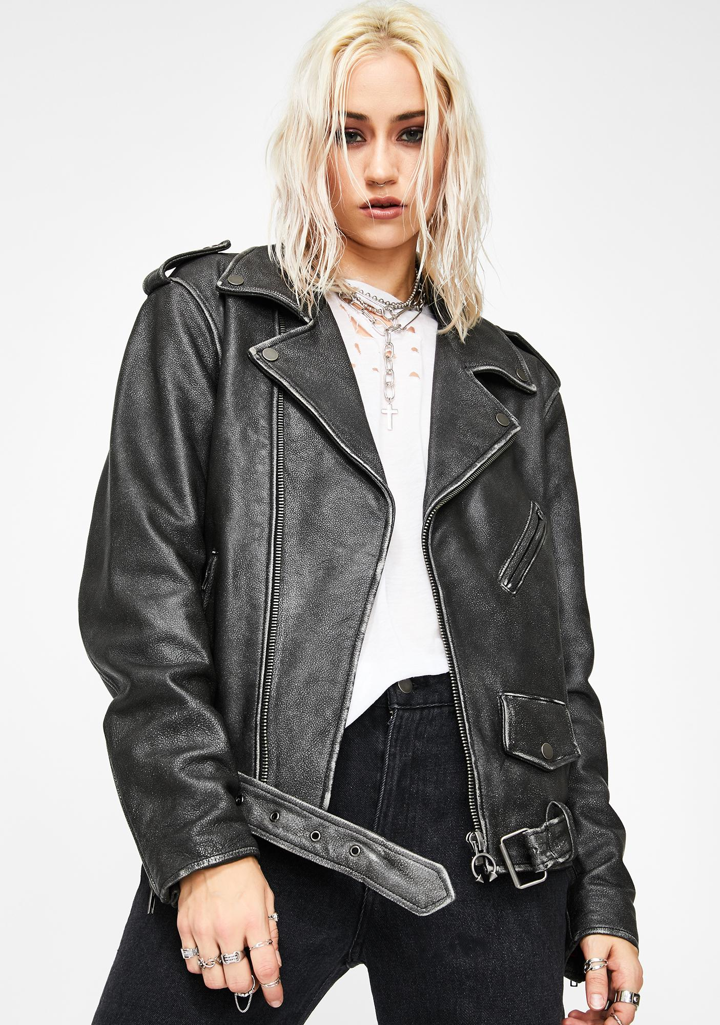 Current Mood Riot Riders Leather Moto Jacket