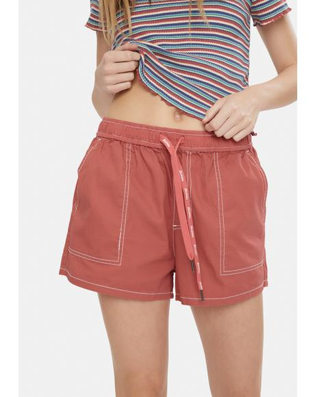 Terracotta Slash Pocket Shorts