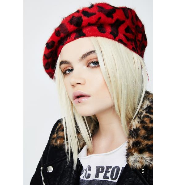Love Here N' Meow Fuzzy Beret