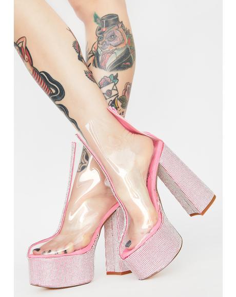 Pink Brandie Rhinestone Heels