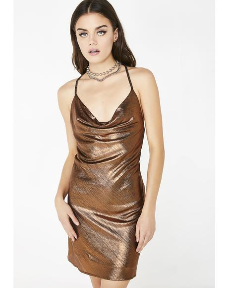 Strictly Servin' Metallic Dress