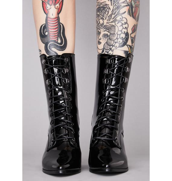 Widow Punk Coven Patent Boots