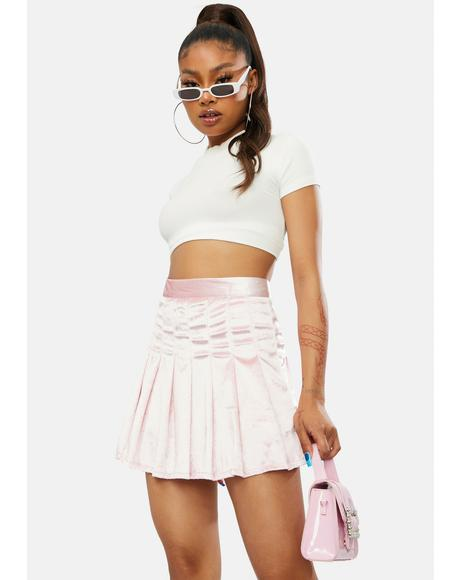 Blush Center Of Attention Velvet Skirt