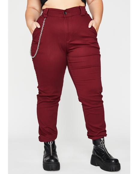 Burgundy Baddie In Flight Cargo Pants