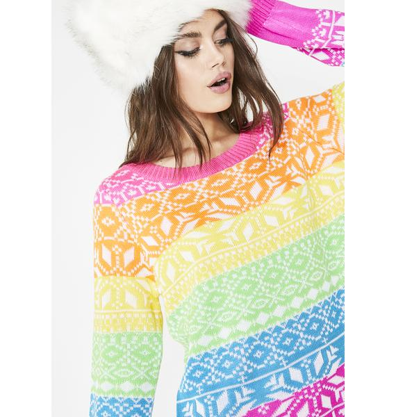 Tipsy Elves Rainbow Dayglow Ski Sweater