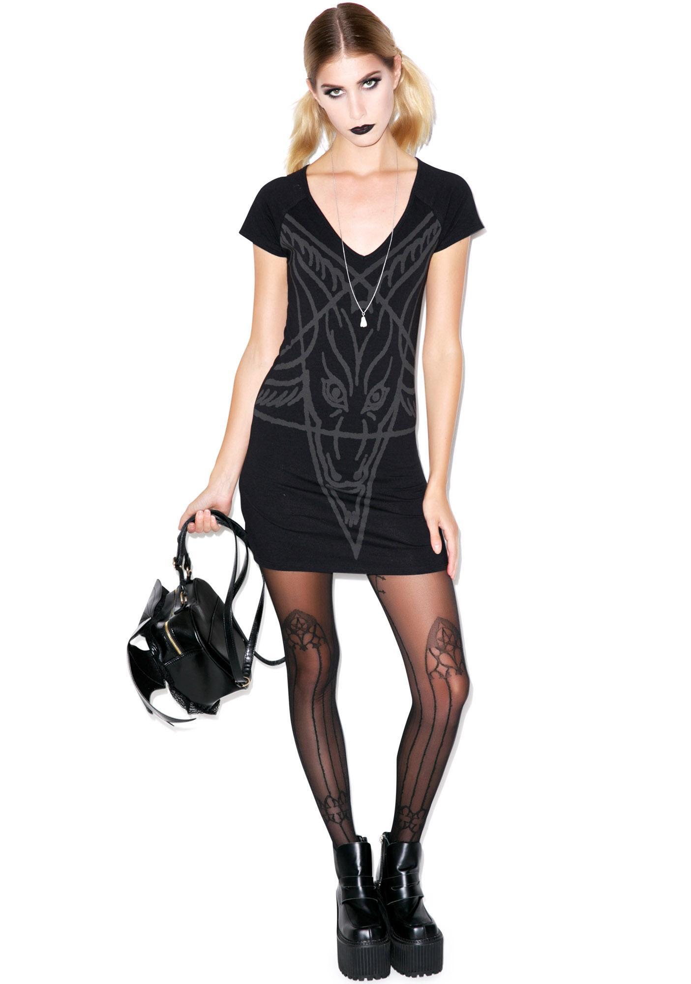 Kreepsville 666 Goathead V Neck Tunic Dress