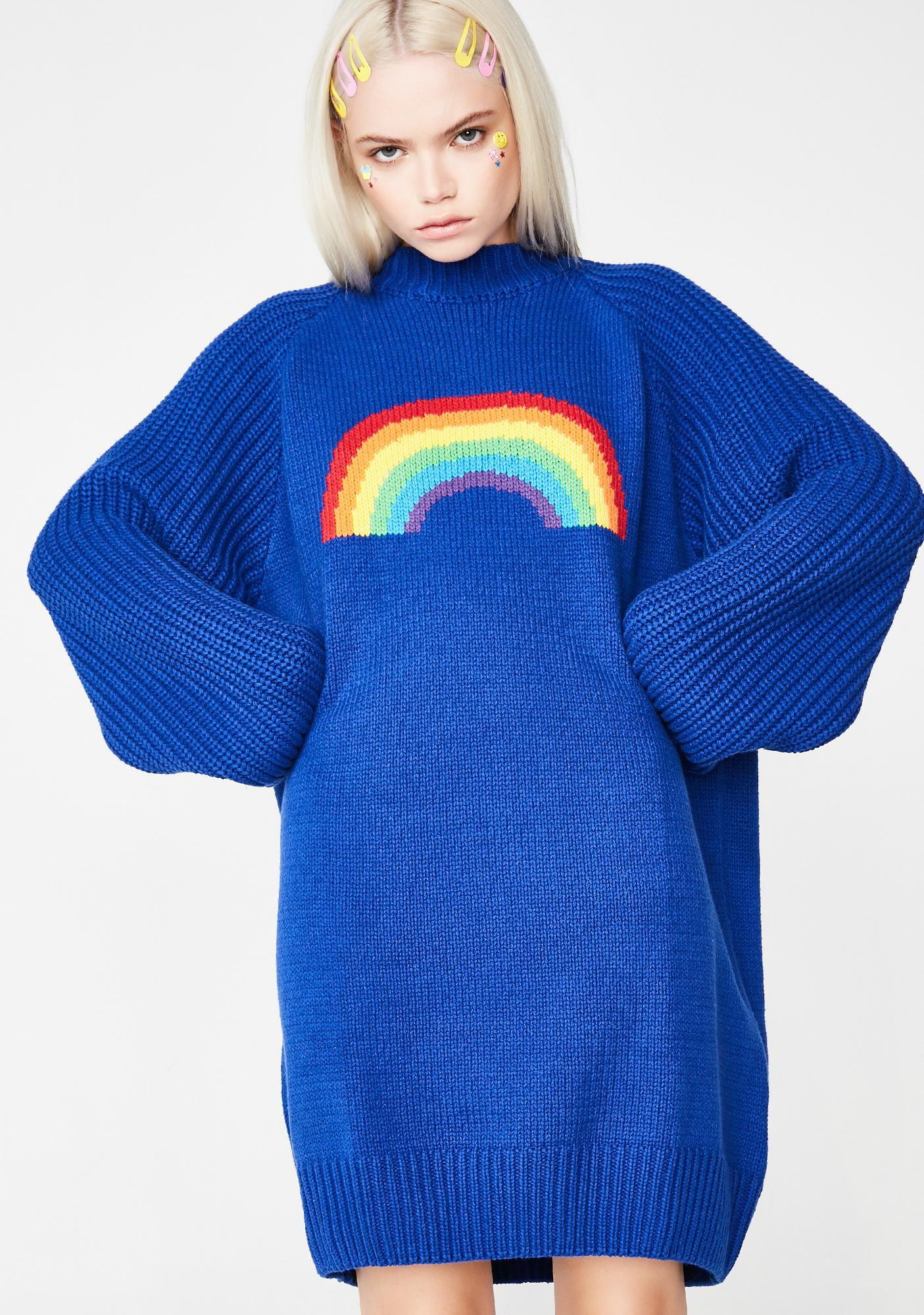 65999012a8 Lazy Oaf Over The Rainbow Sweater Dress