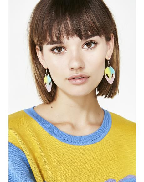 Pastel Peace Out Alien Earrings