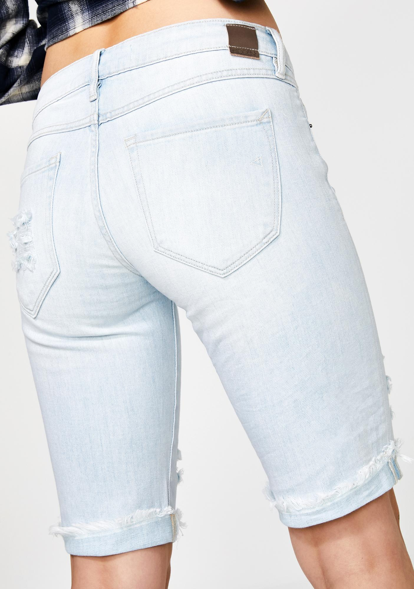 Hidden Denim Super Light Wash Distressed Bermuda Shorts