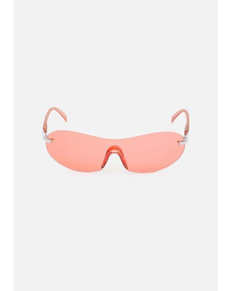 Red 2000s Shield Sunglasses