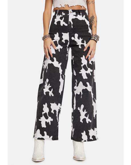 Remi Cow Print Wide Leg Jeans