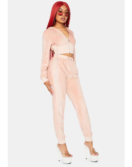 Lush Talker Rhinestones Velvet Pant Set