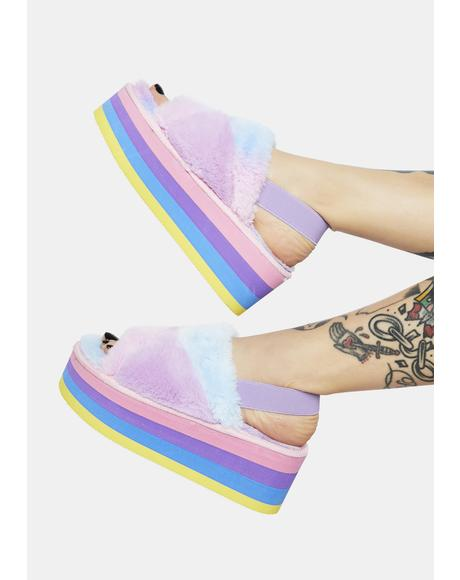 Cotton Candy Dreams Fuzzy Platform Sandals